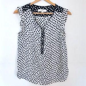 Ann Taylor LOFT   Black & white floral blouse